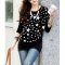 Stylish Scoop Neck Long Sleeves Stars Printed T-Shirt For Women XL BLACK