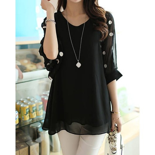 V-Neck 3/4 Sleeve Polka Dot Loose-Fitting Chiffon Tunic Blouse L BLACK