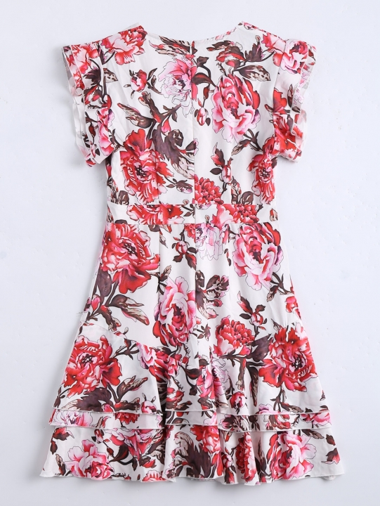 Floral Ruffles Layered A-Line Dress XL FLORAL