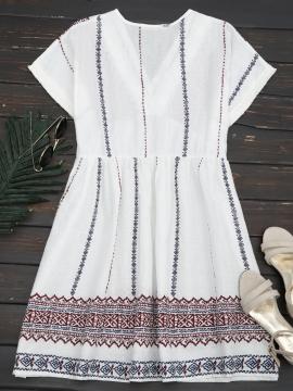 Embroidered Tassels Shift Dress S WHITE
