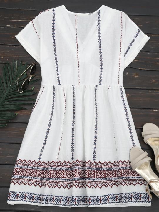 Embroidered Tassels Shift Dress L WHITE