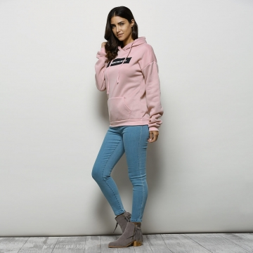 Stylish Hooded Long Sleeve Drawstring Letter Print Women Hoodie XL LIGHT PINK