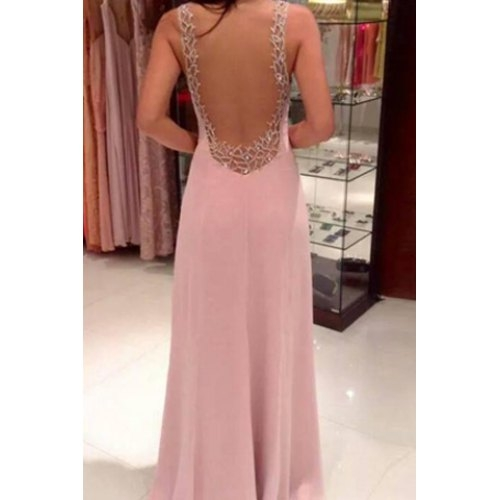 Plunging Neck Sleeveless Backless Formal Party Dress XL PINK