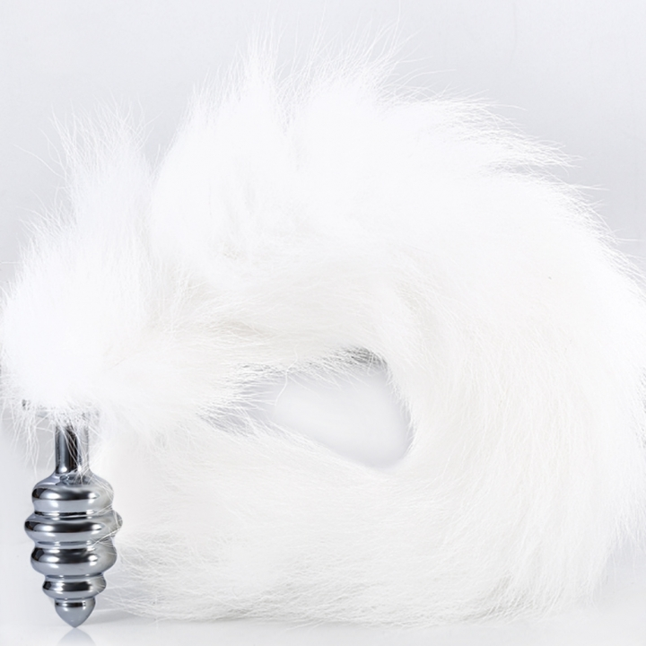 Thread Butt Plug Aluminium Alloy Anal Inserted Toy with Foxtail for Sex Pleasure S SILVER