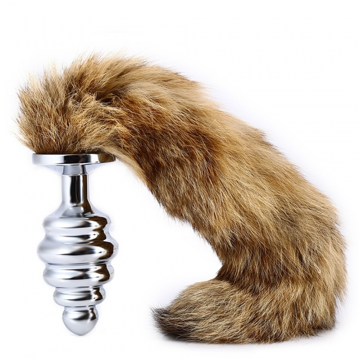Thread Butt Plug Aluminium Alloy Anal Inserted Toy with Foxtail for Sex Pleasure L SILVER