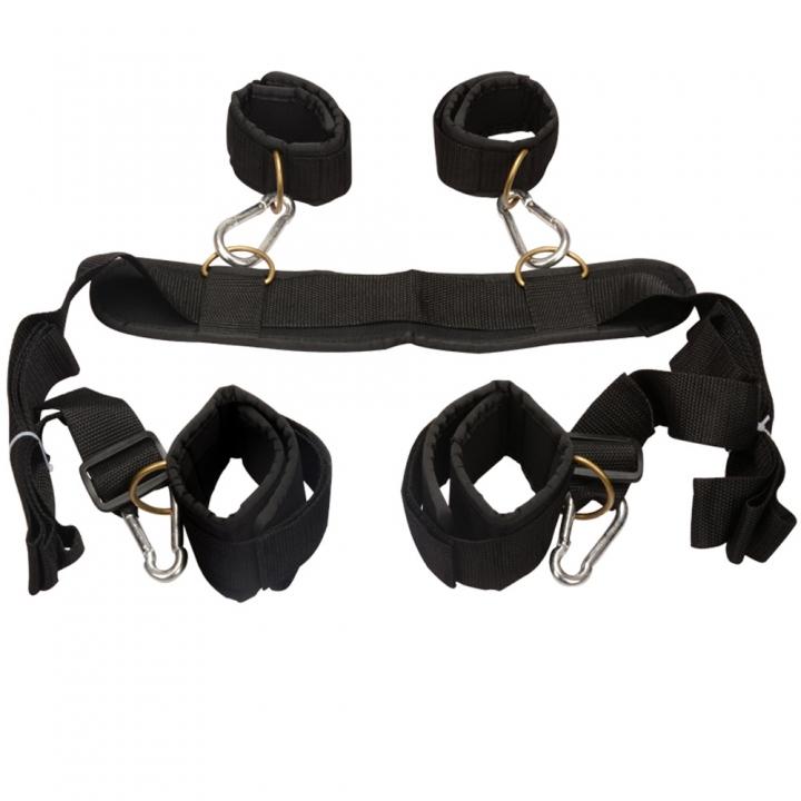 Sex Nylon Body Harness Wrist Ankle Handcuffs Restraint Fetish Slave Bondage Adult Sex Toy default BLACK