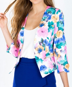 Full Floral Print Zip Pocket Blazer L COLORMIX