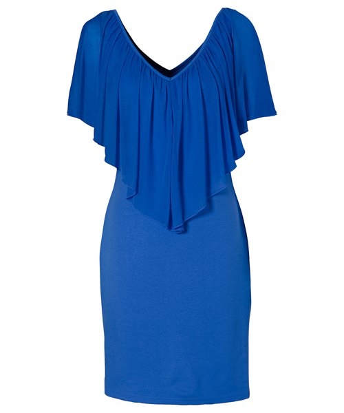 Stylish V-Neck Off-The-Shoulder Solid Color Flounce Chiffon Dress For Women M BLUE
