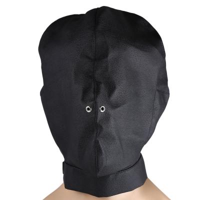 SM Sex Game Adjustable Bondage Fetish Toy Leather Mask Hood Cap with Air Hole default BLACK