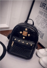 Women New Fashion Silver Backpack Korean Style with rivet mini bag black one size