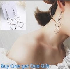 JOYOU-1Pair New Fashion Zircon Electroplate Spiral crooked Earrings Women Jewellery Silver Glod silver one size