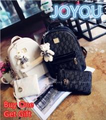 JOYOU Korean Style PU Leather Backpack Drawstring Travel Bag White One Size