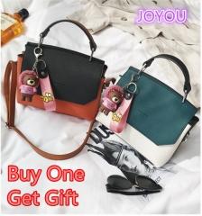 JOYOU Classic Fashion Women Luxury Handbag European Style Genuine Bags Green Not include Bear