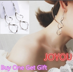 JOYOU-1Pair New Fashion Earrings Women Jewellery Silver Silver One size