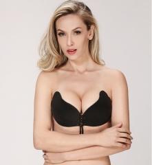 New design Fashion Women Lady Comfortable Silicone Invisible Bra Strap Underwear Nubra black C
