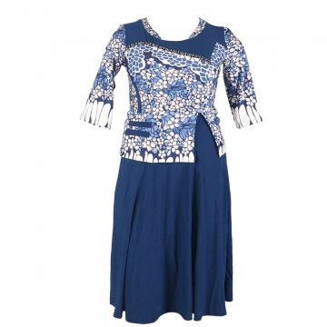 2018 women's fashion positioning floral dresses. lycra material is very comfortable. navy  blue xxl