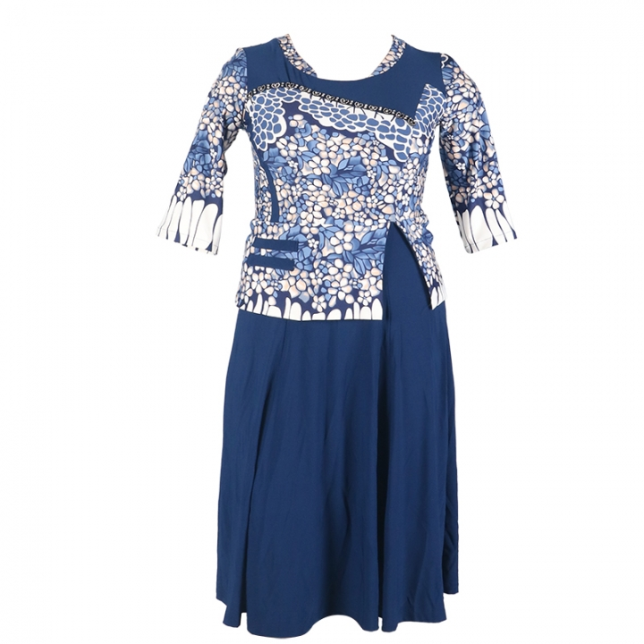 2018 women's fashion positioning floral dresses. lycra material is very comfortable. navy  blue xl