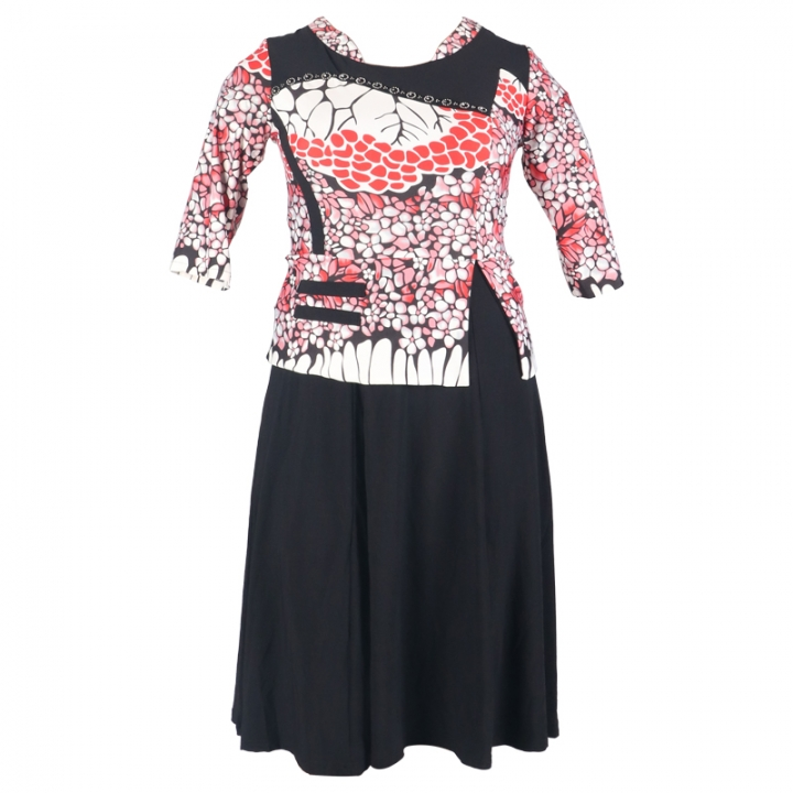2018 women's fashion positioning floral dresses. lycra material is very comfortable. black xl