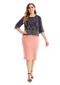 Women's Plus Size 3/4 Sleeve Bodycon Formal Business Work Midi Pencil Dress 54 peach/navy blue