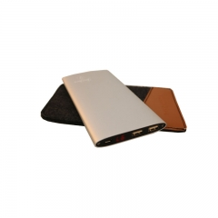JayJero J2+ 'Shake to turn on' high capacity big slim Power Bank plus Pouch. 18000maH silver 18000