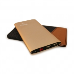 JayJero J2+ 'Shake to turn on' high capacity big slim Power Bank plus Pouch. 18000maH gold 18000