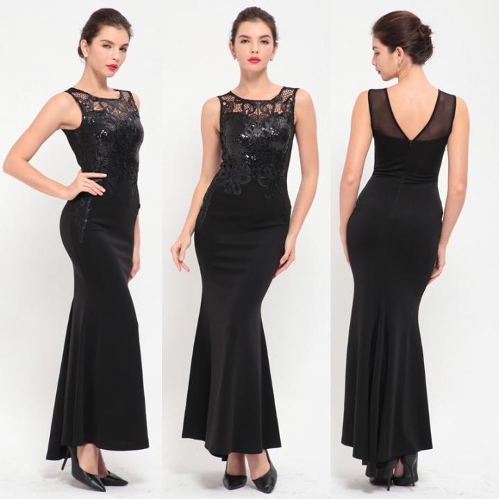 New Elegant Sheer Sleeveless Long Dress Party Women Lace Mermaid Black Gown  Ladies Formal Dresses black 96fe39d5e