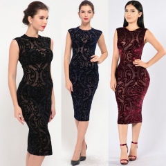 Women Sleeveless Mesh Splice Bandage Dress Sexy Black Knee Length Midi Bodycon Party Dresses dark blue m