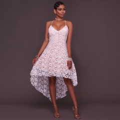 Summer Sexy Dress Women Halter White Sweet Ball Gown Lace Organza High Low Evening Party Long Dress white s