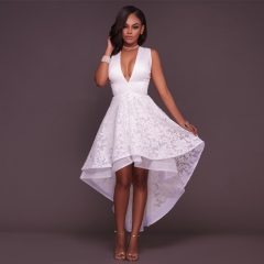 Women V Neck Sleeveless White Sweet Ball Gown White Organza High Low Evening Party Long Dress white l