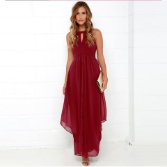 High Quality Wedding Party Maxi Dress Women Long Dress Summer Hollowout Sexy Vestidos red s