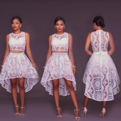 Fashion Lace Flower Design Front Short Back Long Casual Party Gown Dress white s