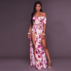 Slash Neck Rompers Print Floral Vintage Boho Beach Dress floral xl