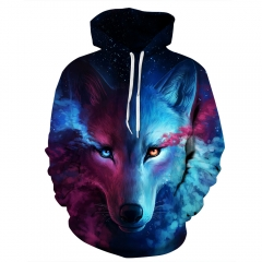 3D Printing Starry Wolf Digital Printing Hooded Sweater Large Size Couple Baseball Clothing as picture xxl