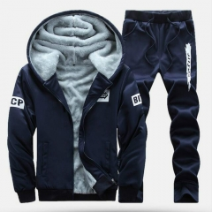 Men  Warm Thicken Slim Fit Sporting Tracksuits Mens Hoodies Sweatshirts Two Sets blue m