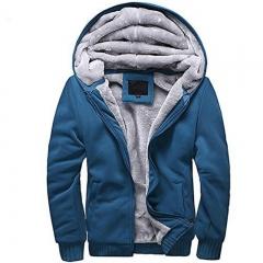 Thicken Hoodie Men Zipper Hooded Coat Mens Tracksuit Blue M