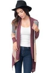 Autumn cardigans feminino Shawl Neck Colorblock Casual Cardigan Sweater  Knitwear Shawl wine S
