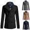 New Men's Long Coat Trench Coat Double-breasted Large Size England Slim Men's Woolen Coat Black L