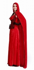 New Arrival Hot Christmas Party Fancy Dress Cloak Included Long Fancy Santa Claus Costume For Women red One Size