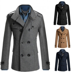New Men's Long Coat Trench Coat Double-breasted Large Size England Slim Men's Woolen Coat Dark gray L