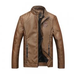 New Locomotive Washed PU Leather European and American Fashion Wild Personality Jacket Jacket Khaki L