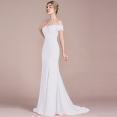 Fashion Elegant Slash Neck Bridemaid Prom Gown Wedding Evening Long Maxi Mermaid Dress white S