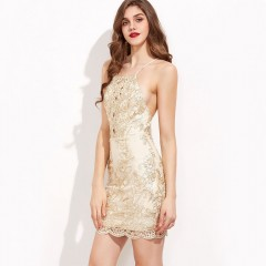 Sexy Chic Embroidery HL Bodycon Strap Sundress Sleeveless Elegant Slim Halter Hollow Lace Dress beige S
