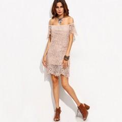 Sexy Lace Women Dress New Summer Elegant Slash Neck Club Woman Wear Mini Dress Hollow Out Off The Shoulder White Dress pink S