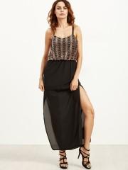 Elegant Women Sequined Chiffon Splice Spaghetti Strap Split sundress 2017 New Casual Fashion Maxi Long Sequin Dress Party black S