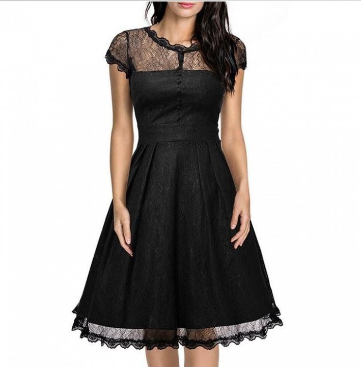 aa2f271b37c43 Summer A Line Midi Elegant Dress Women Short Sleeve Mesh Floral Vintage  Dress Lace Evening Party Vestidos burgundy S