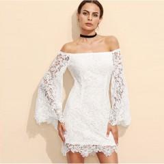 Luxury Dress Sexy Clubwear Ladies Famous Brand High Street New Arrival 2017 white Lace Slash Neck Sheath Mini Dress white S