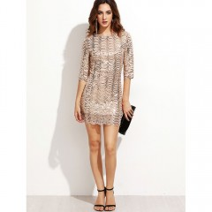 Sexy Women Fish Scales Sequined Party Mini Dress 2017 New sundress Club Wear Casual Gold Sequin Bodycon Dresses beige S