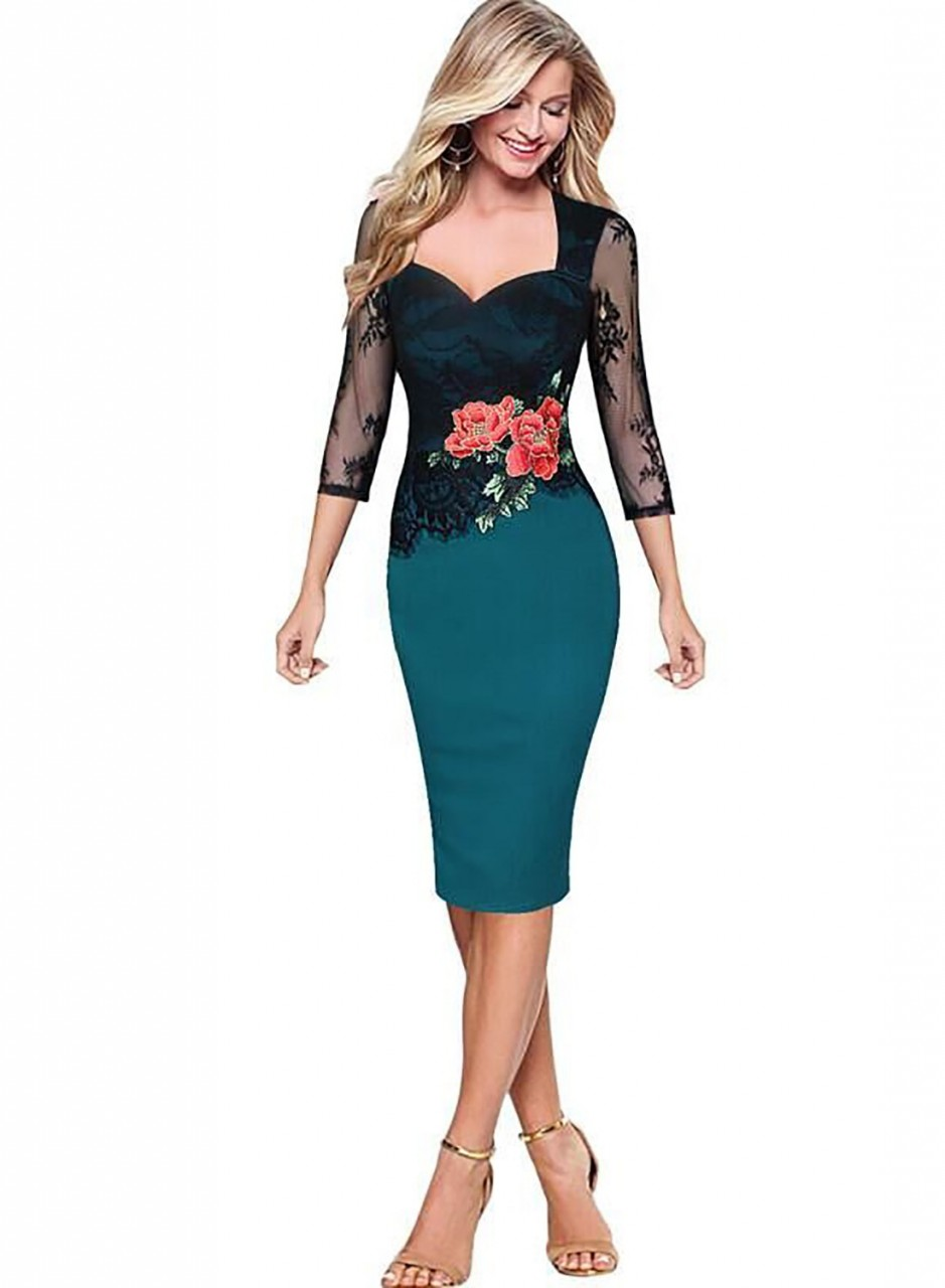 76fae84f9ae Plus size Embroidered Lace Dresses Women Floral Pattern Hollow Out Business  Work Office Casual Party Pencil Bodycon Dress blue S  Product No  1302398.  Item ...