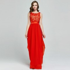 Summer Patchwork Lace Chiffon Floor-Length Womens Dresses Party Wear Formal Maxi Long Dress Robe M Red