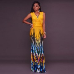 Sexy V-neck Female Print Floral Vintage Boho Beach Casual Maxi Long Dress Yellow s